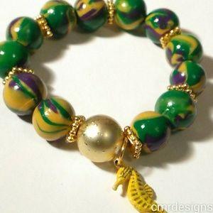 Mardi Grass Girls Handmade Bracelet